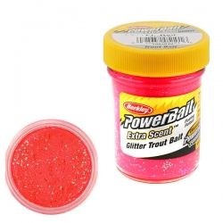 Паста за стръв Berkley Extra Scent Glitter Trout Bait - Fluo Red