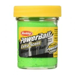 Паста за стръв Berkley Extra Scent Glitter Trout Bait - Fl. Green Yellow