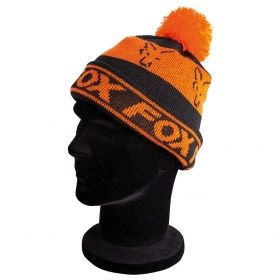Зимна Шапка FOX Black & Orange Lined Bobble